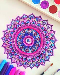 Pink-purple-blue mandala  Hope everyone's having an amazing weekend, this…