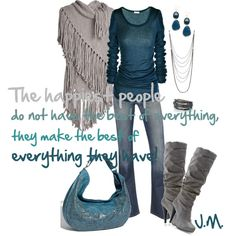 Teal and gray, I would have to get a flat boot! I would break my neck with the heals!;)