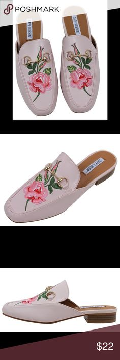 Light Soft Pink Floral Embroidered Slip on Mules Light Pink Floral Embroidered Slip on Mules. Super cute trendy sandal !!! Tue to size Shoes Sandals
