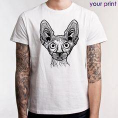 Футболка белая - принт кот сфинкс / White t-shirt - print Cat Sphynx