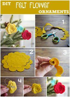 Adorable DIY Felt Flower Christmas Ornaments - The Magic Onions
