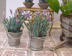 Lavender in zinc bucket, dollhouse miniature, scale 1:12. Petit Brocante, 2012