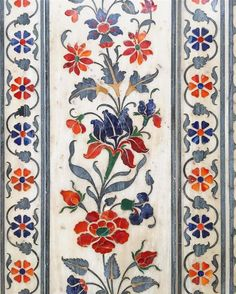 """""""An elegant marble inlaid bouquet of a variety of floral patterns at the entrance of Shir Digambar Jain temple, Godhan in the walled city of Jaipur. Border Pattern, Border Design, Pattern Art, Thai Pattern, Floral Pattern Vector, Motif Floral, Floral Patterns, Mughal Paintings, Islamic Art Pattern"""