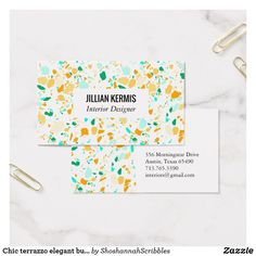 Chic terrazzo elegant business card aqua & gold