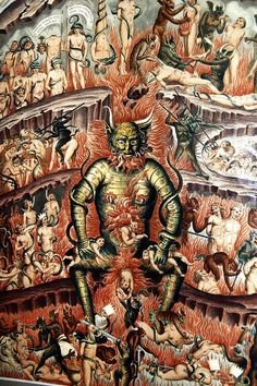 Buonamico Buffalmacco (Firenze, 1290 circa – 1340) Ciclo del Trionfo della Morte (particolare del Giudizio Universale con l'Inferno). Affresco. Camposanto. Piazza dei Miracoli, Pisa. Toscana.