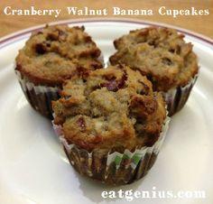 Paleo Cranberry Walnut Banana Cupcakes by eat genius Paleo Cupcakes, Banana Cupcakes, Yummy Cupcakes, Paleo Dessert, Healthy Desserts, Delicious Desserts, Healthy Recipes, Healthy Donuts, Healthy Cake