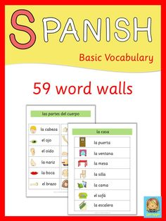 This set has 59 Spanish word walls. They are a great visual help for introducing Spanish vocabulary and cover all major topics from adjectives to weather. Visit my store and download the preview for more information.
