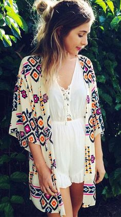 Beige Floral Print Elbow Sleeve Kimono
