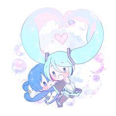Chibi Miku and Kaito Kawaii Chibi, Chibi, Vocaloid, Vocaloid Kaito, Anime Jesus, Miku, Drawing S, Manga, Anime Chibi