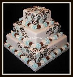 Tiffany Blue & Brown Wedding Cake