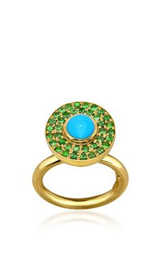 Cyclos Ring With Turquoise And Tsavorite by ELENA VOTSI for Preorder on Moda Operandi