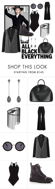 """""""black black"""" by blumbeeno ❤ liked on Polyvore featuring Alexis Bittar, Calvin Klein 205W39NYC, Caterina Zangrando, Rosetta Getty, The Row, Alice + Olivia, Roland Mouret, Giuseppe Zanotti, Agent Provocateur and allblackoutfit"""