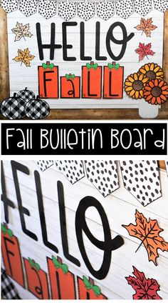 hello autumn Welcome in the Fall season with this trendy bulletin board display that you and your students will love! Farmhouse plaid pumpkins, rust colored flowers/leaves, and black and Toddler Bulletin Boards, October Bulletin Boards, Thanksgiving Bulletin Boards, Valentines Day Bulletin Board, Kindergarten Bulletin Boards, Summer Bulletin Boards, Halloween Bulletin Boards, Teacher Bulletin Boards, Bulletin Board Display