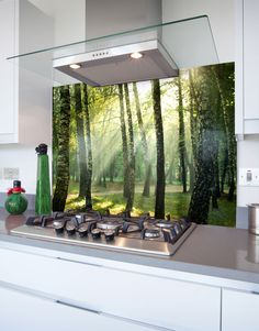 How to order printed glass hob splashback panels Using the options above, select or enter the following:  Enter your measurements, put in the full size of the panel section you require (we will adjust the eventual cut size for expansion & fitting when