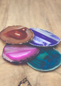 Assorted colors of agate crystal coasters