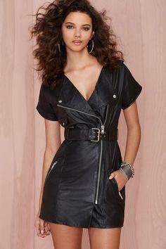 Nasty Gal Regent Leather Moto Dress