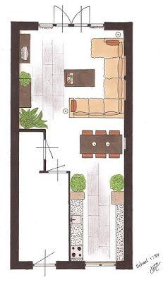 Afbeeldingsresultaat voor inrichting lange smalle woonkamer