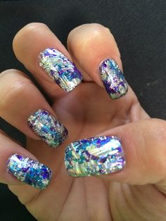 Acrylic nails with purple, teal, and silver foil sealed in CND Shellac Foil Nail Art, Foil Nails, Acrylic Nail Art, Purple Nail Designs, Gel Nail Designs, Red Christmas Nails, Chrome Nail Art, Butterfly Nail Art, Finger Nail Art