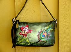 One of a Kind Hand Painted Coach Purse by JacketsbyJahne on Etsy, $78.00