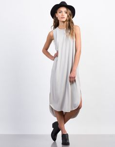 This Basic Midi Tank Dress is the true definition of comfort and chic. Pair this gray dress with some strappy sandals or lace-up sneakers for a casual weekend day out.