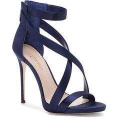 Imagine Vince Camuto Women's Devin Strappy Stiletto Sandals (€96) ❤ liked on Polyvore featuring shoes, sandals, blue, open toe stilettos, open toe sandals, strap shoes, blue shoes and leather sole shoes