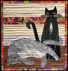 """Boris and Natasha"" -  custom appliqué art quilt by Allison Hicks. These cats are brother and sister- he's the sweetheart, and she looks after him."