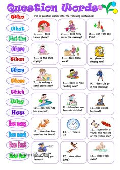 Question Words - English ESL Worksheets for distance learning and physical classrooms Basic English For Kids, English Books For Kids, English Activities For Kids, English Grammar For Kids, Learning English For Kids, Teaching English Grammar, English Worksheets For Kids, English Lessons For Kids, Learn English Words