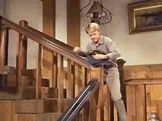 """Jamie, still smarting from the whipping Ben gave him earlier, is put to work at the Ponderosa when Little Joe decides to add some salt to the wound. (Michael Landon; """"The Trouble with Jamie"""", S07E25, 1966)"""