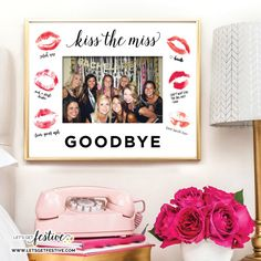 Kiss the Miss Goodbye Image Frame Insert (fr) Bachelorette party (in English) Bridal shower (fr) Frame NOT included - A memory of his evjf - Bachlorette Party, Beach Bachelorette, Simple Bridal Shower, Bridal Shower Games, Bridal Shower Decorations, Party Pictures, Party Photos, Bride Gifts, Receptions