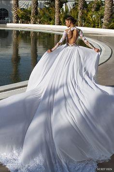 nurit hen 2016 long sleeves vneck sheath wedding dress (pw24) bv keyhole back long train