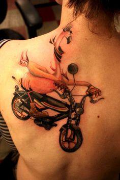 Biker Flamingo Tattoo