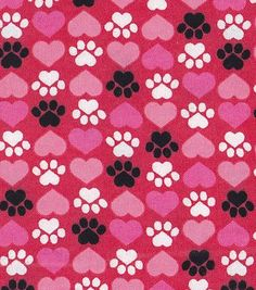Snuggle Flannel Fabric-Paws & Hearts