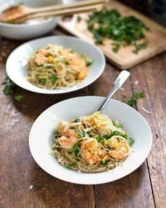 15 Minute Shrimp Scampi - olive oil - shrimp - 4 garlic cloves - butter - white wine - lemon - capellini noodles - fresh parsley