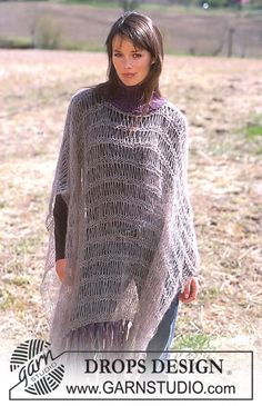 DROPS Poncho with dropped stitches in Vivaldi and Eskimo. ~ DROPS Design