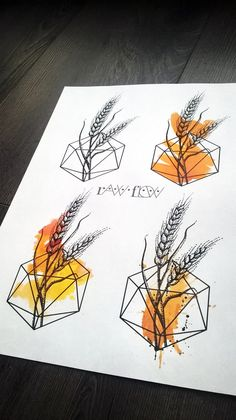 Wheat watercolour dot work tattoo designs by Raw Flow… Cute Tattoos, Black Tattoos, New Tattoos, Piercing Tattoo, I Tattoo, Piercings, Oak Leaf Tattoos, Vegetable Tattoo, Wheat Tattoo