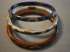 3 Vintage Cloisonne Bracelets Bangle Enameled Floral Red White Blue #Unbranded #Bangle