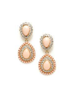 Kenneth Jay Lane Pink Resin Double Teardrop Earrings Pinned by divandisguise.com
