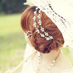 flor del rhinestone cristalino de plata elástico del pelo venda de la venda lureme®fashion de las mujeres – EUR € 6.92