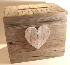 Rustic Wood Wedding Envelope Box by BeachsideGreetings on Etsy