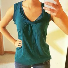 Emerald Green Chiffon Ruffle Neckline Tanktop Perfect condition. The tank top itself is cotton. The neckline and sleeves is lined with chiffon GAP Tops Blouses