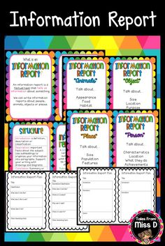 This pack will provide you with resources to teach Information Report Writing to your class. Included; * What is Information Report Writing? Poster * Structure Poster * A Great Information Report Has... Poster * 4 posters with what to include when writing a report about an animal, object, person or place * 6 Graphic Organisers Tales From Miss D