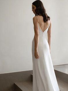 ADAH GOWN | Minimal Wedding Dress | Davie & Chiyo Crepe Wedding Dress, New Wedding Dresses, Bridal Dresses, Simple Elegant Wedding Dress, Minimal Wedding Dress, Backless Wedding, Dress Cuts, Silhouette, Vintage Inspired
