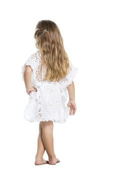 Agua Bendita's natural tunic will have your girl glowing like an angel #girlscoverup #kidsbeachwear #designerkids