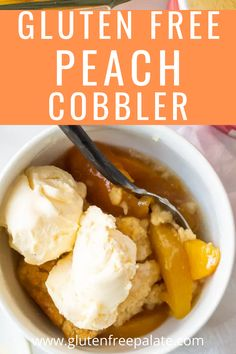 Tender peaches with a sweet, flaky topping create the perfect gluten free peach cobbler that nobody can resist. Gluten Free Dinner, Gluten Free Desserts, Gf Recipes, Gluten Free Recipes, Gluten Free Peach Cobbler, Peaches, Sweets, Create, Ethnic Recipes