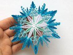 Snowflake Blue White Frosty Christmas Tree Decoration Winter Ornaments Gifts Toppers Fillers Office Corporate Paper Quilling Quilled Art This is unique handmade quilled snowflake. Amazing Christmas gift for Your loved ones and suitable for all winter occasions. You can hang it on