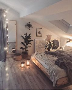 cozi homes on We are in love with this cozy bedroom! The low bed and the soft string lights give the room such a relaxing and cozy vibe. Room Ideas Bedroom, Bedroom Loft, Home Decor Bedroom, Attic Bedroom Ideas For Teens, Small Room Bedroom, Loft Bed Room Ideas, A Frame Bedroom, Rustic Teen Bedroom, Cozy White Bedroom