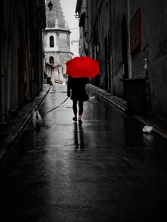 Black and White Photo with Red Umbrella - Several Unique Photo's