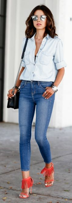 Denim on Denim: Shirt and high rise skinny jeans. The red sandals are added for a shock effect. Via: Annabelle Fleur  Skinny Jeans: L'Agence Margot, Suede Sandals: Stuart Weitzman, Boyfriend Shirt: Express