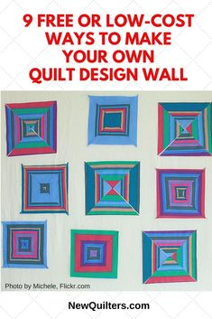 A quilt design wall gives you a way to see exactly how your quilt will look before you assemble it. Learn 9 easy ways to make your own design wall for free or at low cost. Quilting Room, Quilting Tips, Quilting Designs, Quilt Design Wall, Wall Design, Design Wall For Quilting, Machine Embroidery Quilts, Machine Quilting, Rag Quilt Patterns