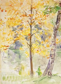 Fall Colors in the Bois de Boulogne, 1888 by Berthe Morisot. Impressionism. landscape. Private Collection